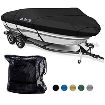 Leader Accessories 600D Polyester Waterproof Trailerable Boat Cover