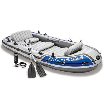Intex Excursion Inflatable Boat Set with Aluminum Oars and High Output Air Pump