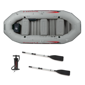 Intex Mariner Inflatable Boat Set with Aluminum Oars and High Output Air Pump